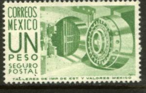 MEXICO G17a $1P 1950 Def 6th Issue Fosforescent unglazed MNH