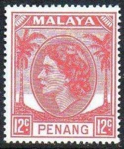Penang 1955 12c rose-red MH