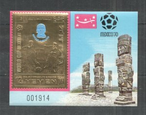 QF1640 IMPERF YEMEN GOLD WORLD CUP MEXICO 1970 FOOTBALL OVERPRINT NORDAHL BL MNH