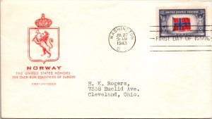 United States, District of Columbia, First Day Cover, Overrun Nations, Norway
