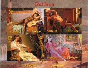Somalia 2003 BALTHUS Nudes Paintings Sheet (4) Imperforated Mint (NH)