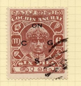 India Cochin 1938-44 Early Issue Fine Used 6p. Optd 200495
