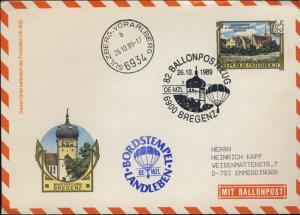 AUTRICHE / AUSTRIA / ÖSTERREICH 1989 82nd Ballon Post Flight Cover