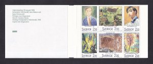 Sweden   #1694a-1699a   MNH  1988   booklet paintings