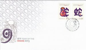 CI52) Christmas Island 2013 Year Of The Snake FDC First Day Cover