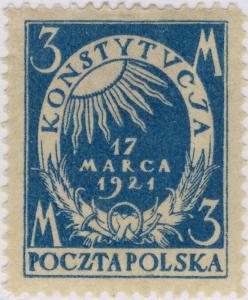POLOGNE / POLAND - 1921 - Mi.165 p.11 1/2 3M Light Blue - Mint*