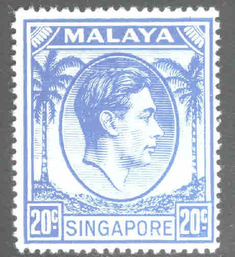 Singapore  Scott 13 MH* perf 18 from 1952