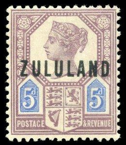 Zululand 1888 QV 5d dull purple & blue very fine mint. SG 7. Sc 7.
