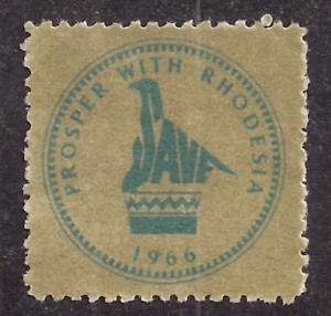 Rhodesia Prosper with Rhodesia label in Olive Green NG VF