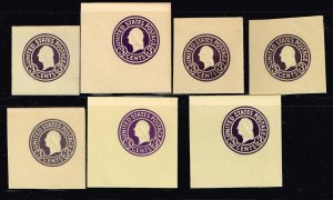 US STAMP BOB CUT SQ Stamps #U437, 437A-F UNUSED STAMP COLLECTION LOT