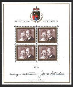 Liechtenstein. 1974. Small sheet 614. Prince of Liechtenstein. MNH.