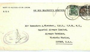 INDIA OHMS Cover IMPERIAL AIRWAYS 1937 *Aircraft Depot Karachi* (Pakistan) CW309