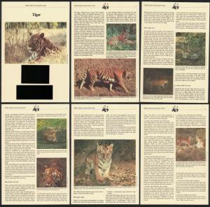 Laos WWF Tiger 4v Info Pages SG#704-707 SC#517-520 MI#706-709 CV£10+
