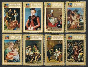 Rwanda 523-530,531,MNH.Michel 566-573,Bl.32. IBRA Munich-1973.Cranach,Rubens,