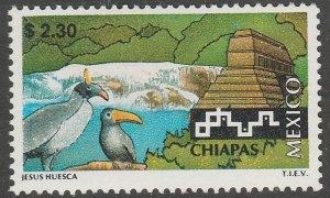 MEXICO 1964, $2.30 Tourism Chiapas, birds, pyramid. Mint, Never Hinged F-VF.