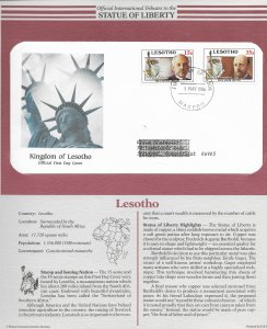 Statue of Liberty Lesotho #535-536. 1986  FDC with write up.