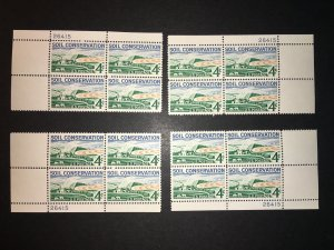 Scott #1133 Soil Conservation Matched Plate Blocks MNH