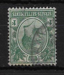 MALAYA STRAITS SETTLEMENTS SG193bw 1917 1c BLUE-GREEN INV WMK USED