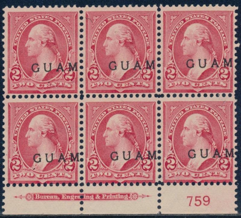 GUAM #2 PLATE #759 BLOCK OF 6 VF+ UNUSED WITH IMPRINT CV $300.00 BQ8509