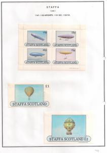 SCOTLAND - STAFFA - 1981 - Airships - Perf 4vm Souv, D/L Sheets - M L H
