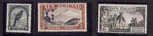New Zealand-Sc#214-16-unused NH-top 3 values of set-1936-42-