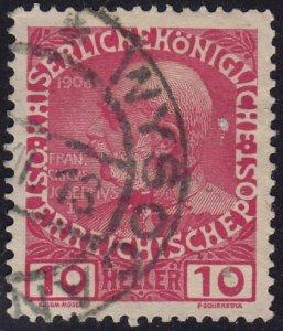 Austria - 1908 - Scott #115 - used - WYSOCAN pmk Czech Republic