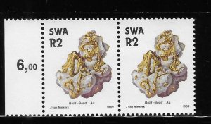 South West Africa 1989-90 Minerals Gold Sc 640 Block of 2 MNH A1694