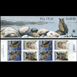 ALAND IS. 1996 - Scott# 125a Booklet-WWW Owls LH