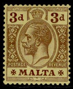MALTA GV SG78a, 3d purple/orange-buff, LH MINT. Cat £75.