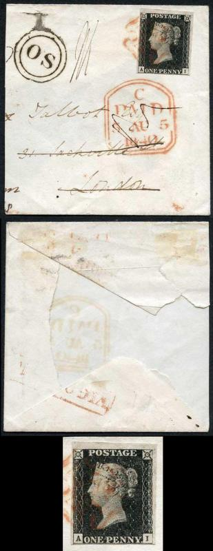 Penny Black (AI) Plate 4 Fine 4 margins on part cover with very fine OS handsta