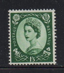 Great Britain Sc 332 1956 1/3d dark green QE II stamp mint NH
