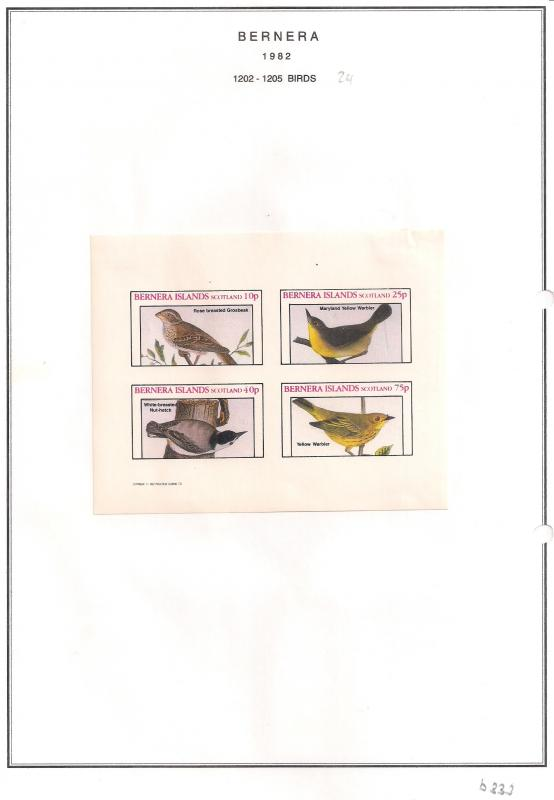 SCOTLAND - BERNERA - 1982 - Birds (24) - 4v Imperf Sheet - MLH