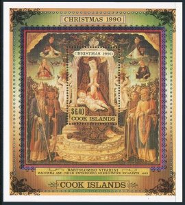 Cook Isl 1042-1045,1046 sheet,MNH. Christmas 1990.Madonna and Child Enthroned.