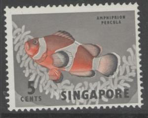SINGAPORE SG66 1962 5c DEFINITIVE MNH