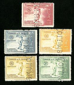 El Salvador Stamps # C36-40 VF Specimen set OG NH