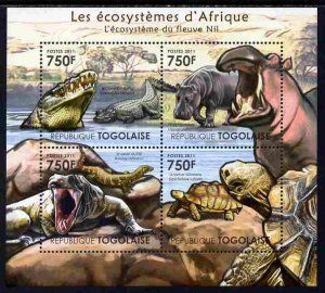 Togo MNH S/S Animals Reptiles Of Nile River 2011 4 Stamps