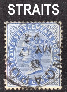 Malaya Straits Settlements Scott 45 wtmk CA F to VF used with a nice SON cds.