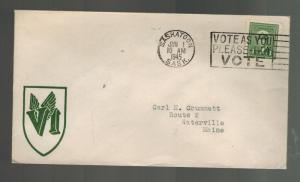 1945 Saskatoon Canada Patriotic cover to Waterville Maine USA VI Wings