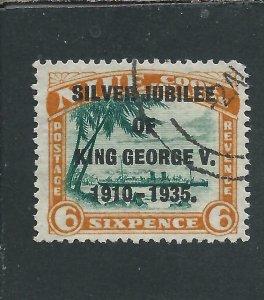 NIUE 1935 JUBILEE 6d GREEN & ORANGE NARROW 'N' FU SG 71a CAT £26