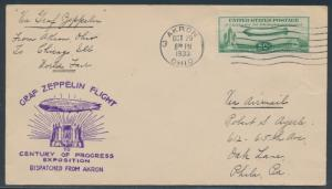 #C18 ON ZEPPELIN FLIGHT COVER AKRON, OH TO CHICAGO, ILL WORLD'S FAIR BR4870
