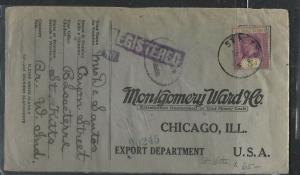 LEEWARD ISLANDS  (P1104B) 1926  KGV 5D ST KITTS TO MONKEY WARDS, CHICAGO