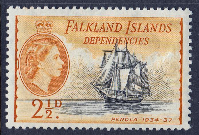 Falkland Island Dependencies QEII 1954 2.5d Black Yellow-Ochre SGG30 Mint LH