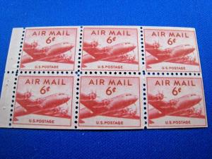 U.S. STAMPS FOR COLLECTORS - SCOTT #C39a BOOKLET PANE    MNH    (kbc39)