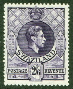 Swaziland KGVI 1938 2/6 2s6d Reddish Violet SG36b Mint Lightly Hinged MLH