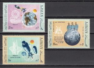 Ajman, Mi cat. 466-468 A. 1st Manned landing on the Moon issue.