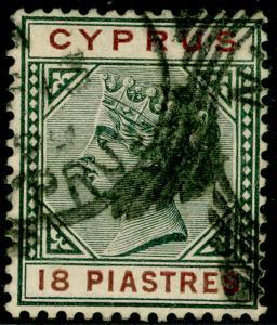 CYPRUS SG48, 18pi greyish slate & brown, FINE USED. Cat £55.