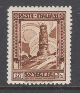 Somalia Sc 144 MLH. 1932 30c dark brown Tower, perf 12, small thin