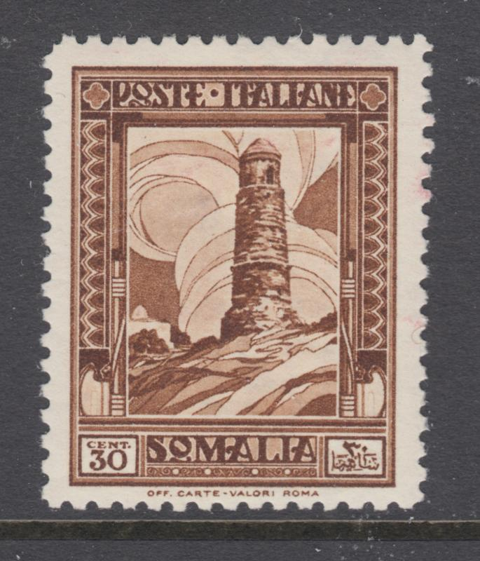 Somalia Sc 144 MLH. 1932 30c dark brown Tower, perf 12, small thin