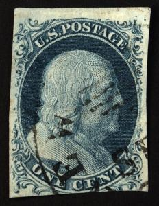 #7 1c Blue 1851 Blue Franklin Imperf TyII VF Used