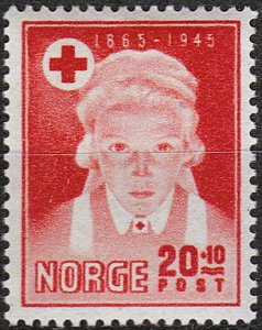 Stamp Norway Sc B42 1946 WWII Nurse 80th Red Cross Anniversary Oslo MNH